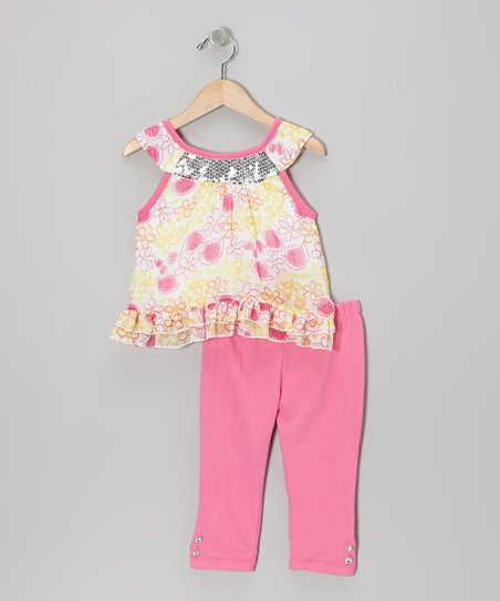 Pink Floral Yoke Tunic & Pants - Infant, Toddler & Girls