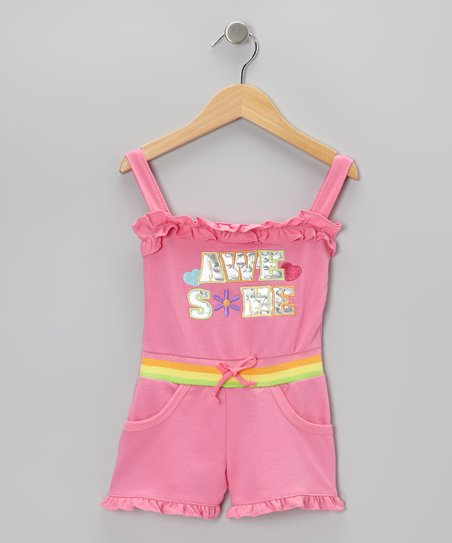 Pink 'Awesome' Ruffle Romper - Infant, Toddler & Girls