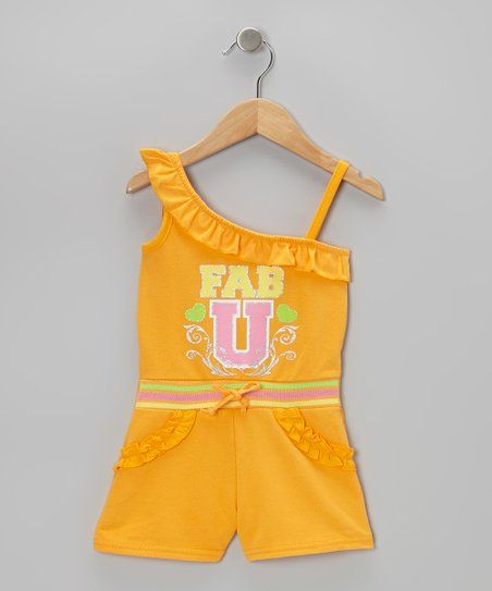 Orange 'Fab U' Asymmetrical Romper - Infant, Toddler & Girls