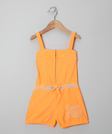 Orange 'Super Star' Romper - Toddler & Girls