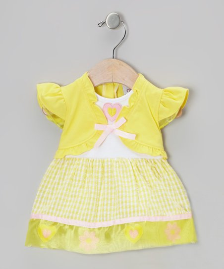Yellow Seersucker Angel-Sleeve Dress – Girls