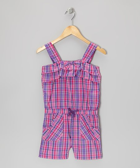 Pink Plaid Romper - Girls