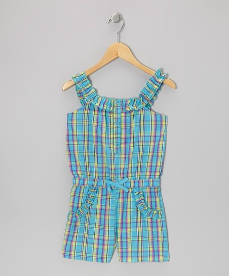 Blue Plaid Ruffle-Strap Romper - Girls