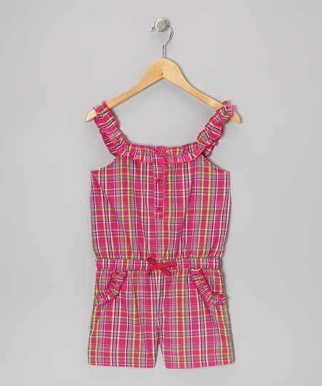 Pink Plaid Ruffle-Strap Romper - Girls