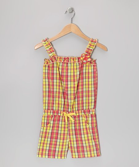 Yellow Plaid Ruffle-Strap Romper - Girls