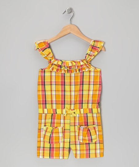 Yellow Plaid Ruffle Romper - Girls