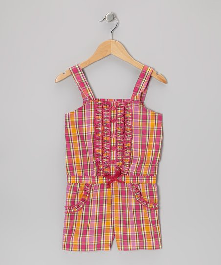 Pink Plaid Button Romper - Girls