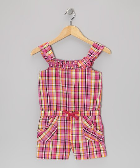 Pink Plaid Butterfly Romper - Girls