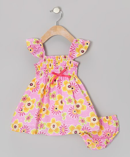 Pink Floral Angel-Sleeve Dress – Infant