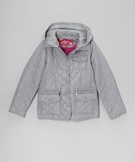 Paloma Silver Quilted Jacket - Toddler & Girls