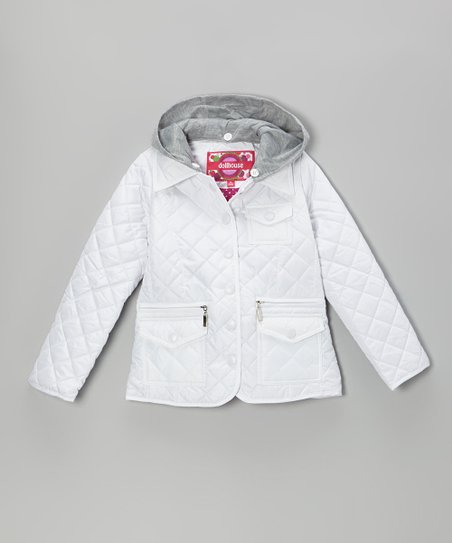 White Quilted Jacket - Toddler & Girls