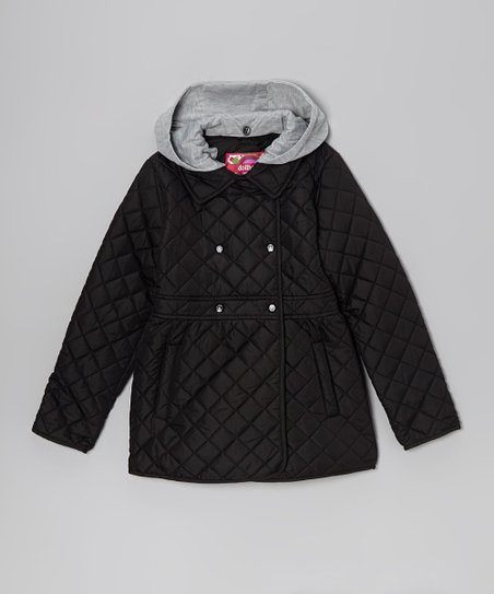 Black Quilted Jacket - Toddler & Girls
