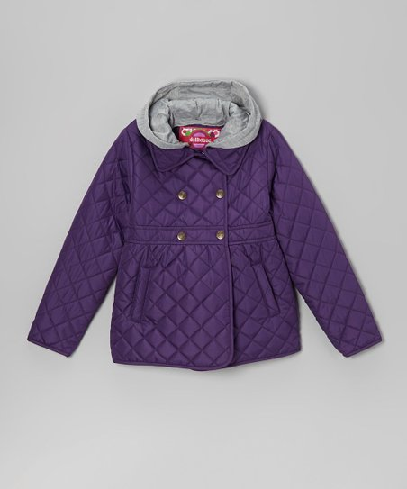 Purple Quilted Hooded Coat - Toddler & Girls