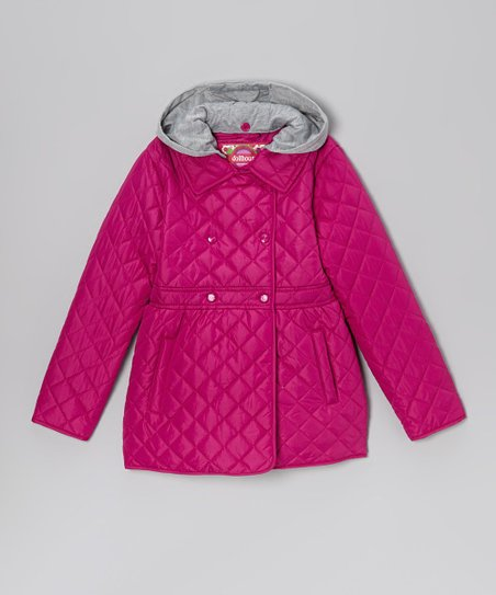 Pink Pop Quilted Hooded Coat - Toddler & Girls