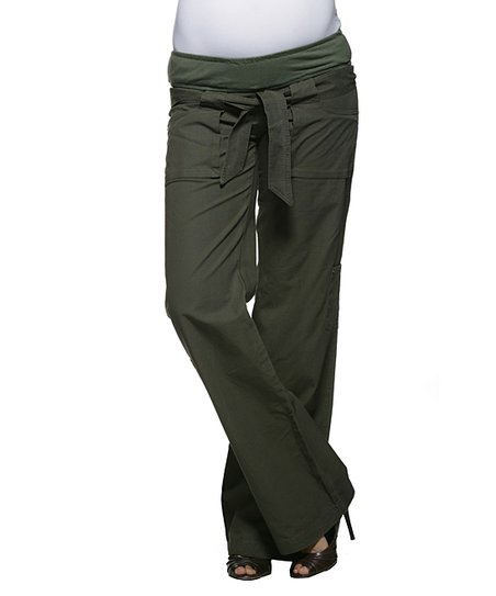 Olive Jamie Mid-Belly Maternity Cargo Pants