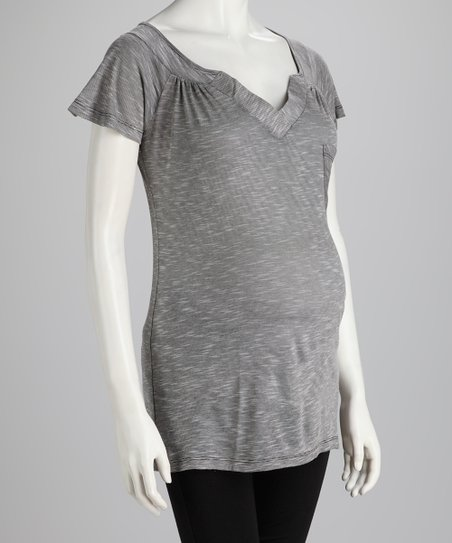 Gray Space-Dye Maternity V-Neck Top