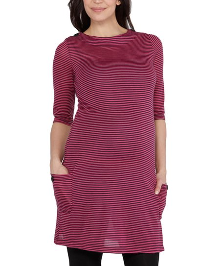 Fuchsia Stripe Beckett Maternity Dress