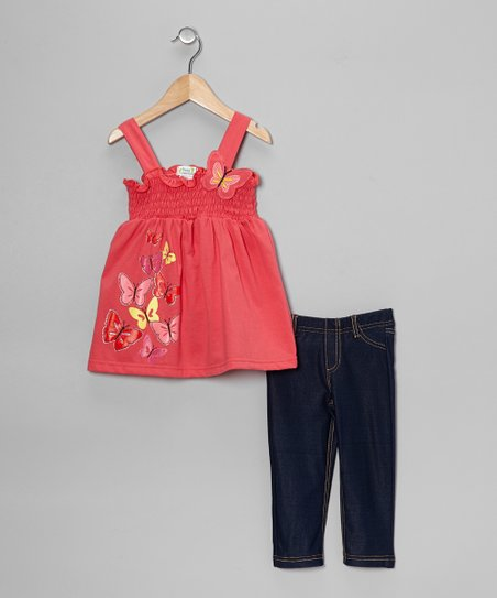 Coral Butterfly Tank & Jeggings - Toddler & Girls