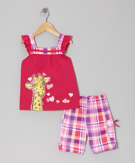 Fuchsia Giraffe Angel-Sleeve Top & Plaid Shorts - Toddler & Girls
