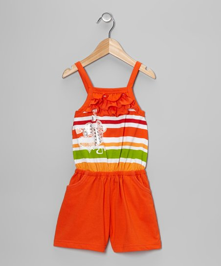 Orange Stripe Heart Ruffle Romper - Toddler & Girls