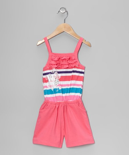 Pink Stripe Heart Ruffle Romper - Toddler & Girls