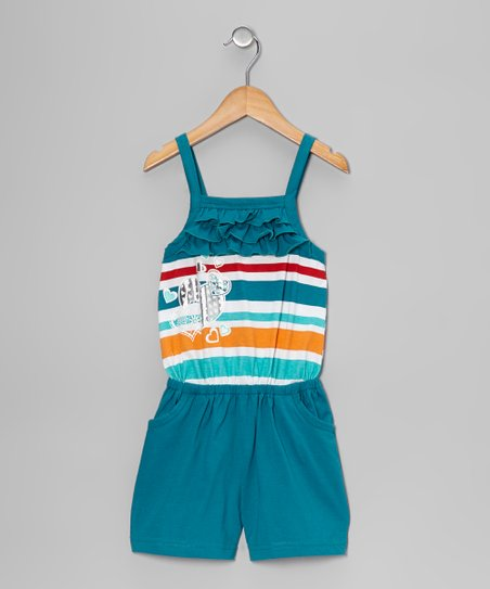 Teal Stripe Heart Ruffle Romper - Toddler & Girls
