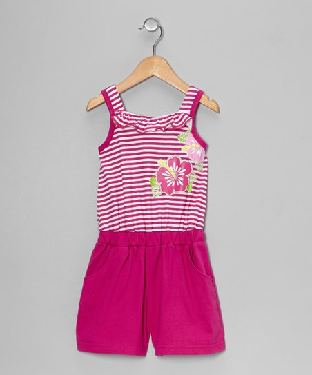 Raspberry Stripe Flower Romper - Toddler & Girls