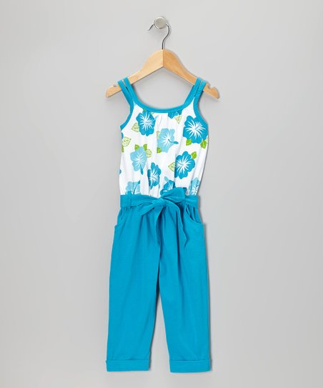 Turquoise Floral Belted Jumpsuit - Toddler & Girls