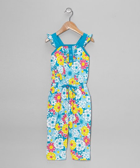 Turquoise Floral Jumpsuit - Toddler & Girls