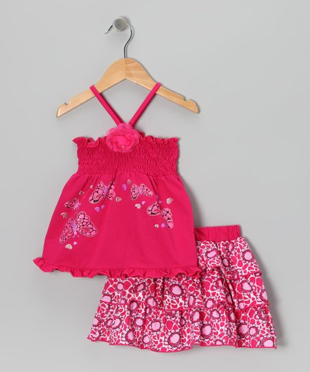 Fuchsia Butterfly Shirred Top & Skirt - Infant, Toddler & Girls