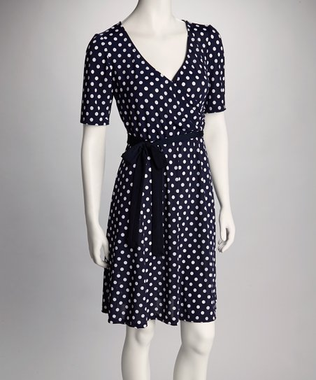 Navy & White Polka Dot Surplice Dress