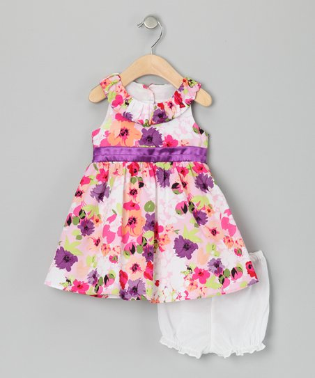 Purple Floral Dress & Bloomers - Infant