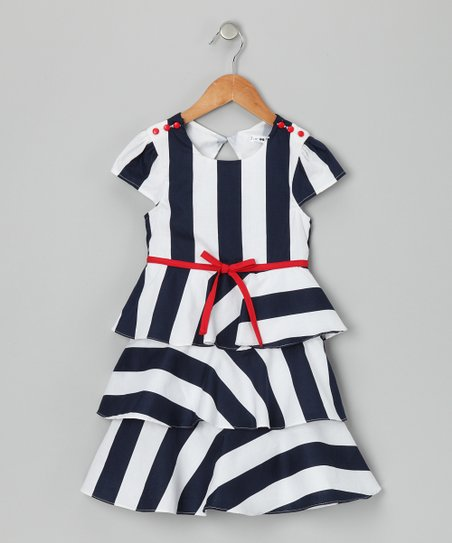 Navy & White Kristie Dress - Girls