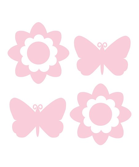 Pink Butterfly & Flower Decal Set