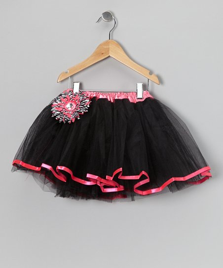 Black & Hot Pink Tutu & Flower Clip - Toddler & Girls