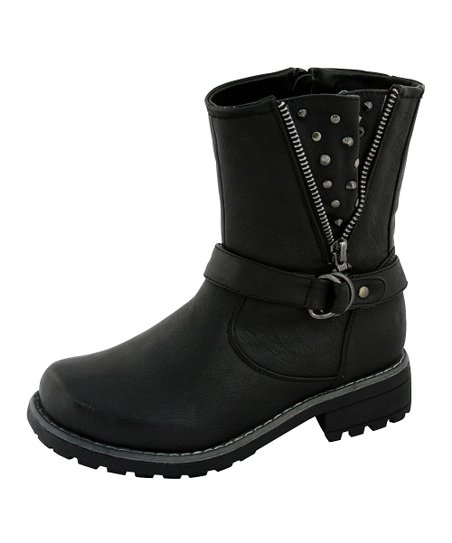 Black Studded Zip-Up Boot