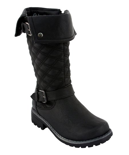Black Quilted Double-Buckle Boot
