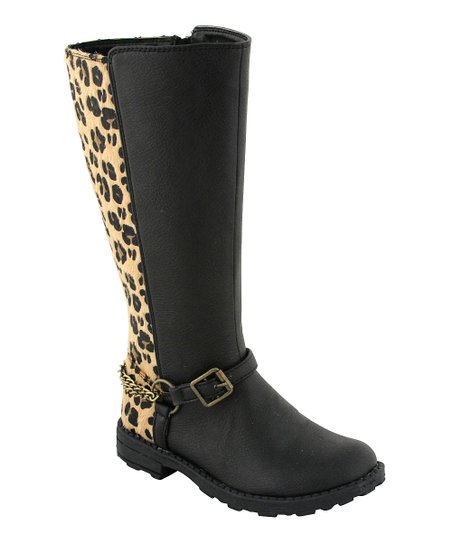 Black & Leopard Boot