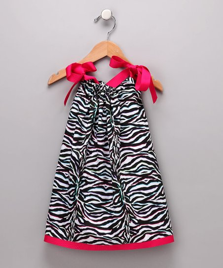 Black & Hot Pink Zebra Swing Dress - Infant, Toddler & Girls