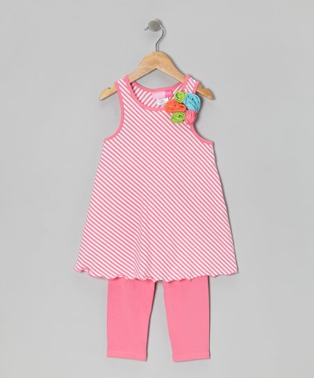 Pink Stripe Tunic & Leggings - Girls