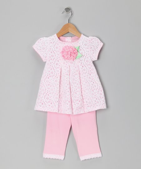 Pink Flower Lace Tunic & Leggings - Toddler & Girls