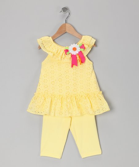 Yellow Bow Eyelet Tunic & Leggings - Toddler & Girls