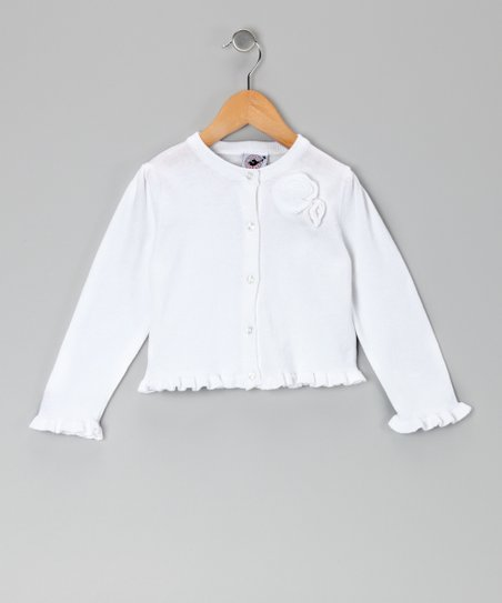 White Ruffle Cardigan - Infant, Toddler & Girls