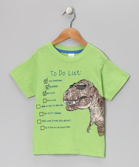 Lime T-Rex 'To-Do List' Tee - Infant, Toddler & Boys