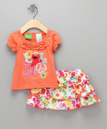 Orange 'Elmo' Tee & Skirt - Infant & Toddler