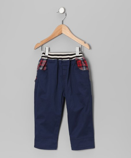 Blue Contrast Plaid Pants - Toddler & Boys