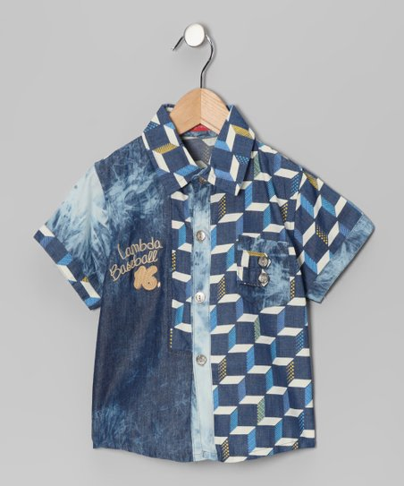 Blue 'Baseball' Button-Up - Boys
