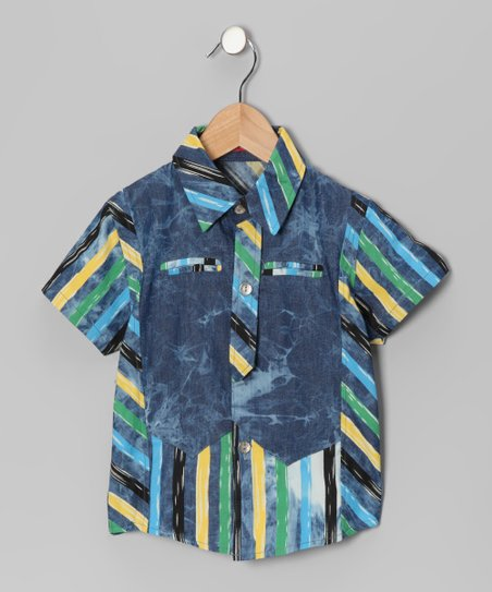 Blue & Yellow Stripe Button-Up - Toddler & Boys