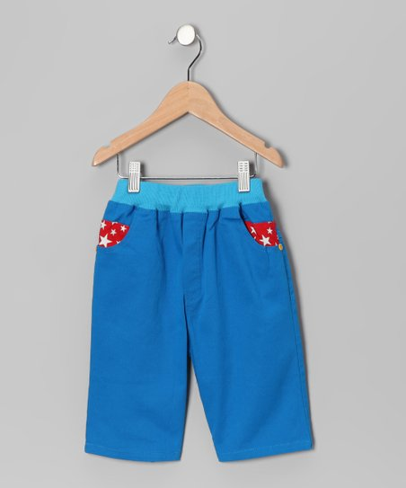 Blue & Red Contrast Star Pants - Toddler & Boys