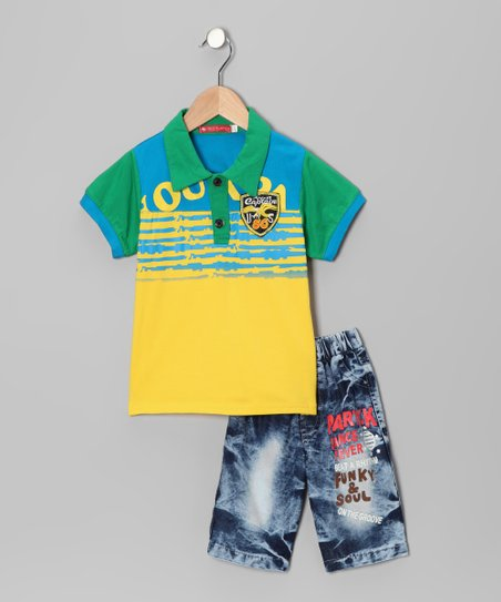 Green & Yellow Polo & Jeans - Toddler & Boys